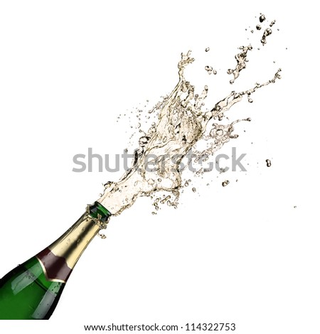 Close-up of champagne explosion