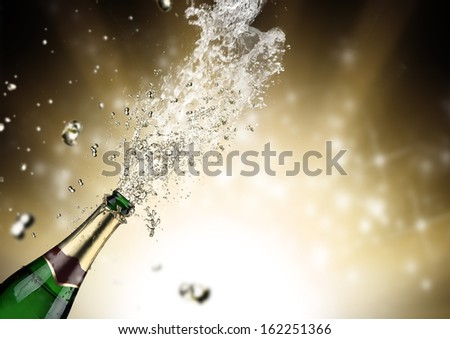Close-up of champagne explosion. Celebration theme. #162251366