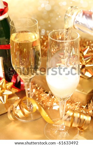 Close-up of champagne glasses on celebration table