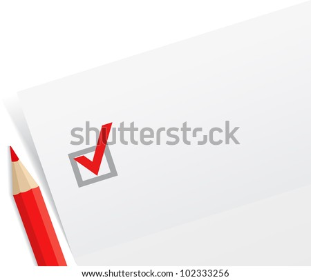 Close-up of checklist with red pencil