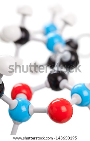Close up of chemical molecule model isolated on white background