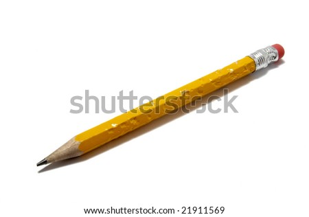 close up of  chewed pencil on white background with clipping path