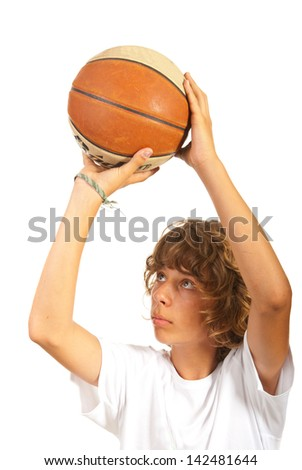 Close up of child throwing basketball isolated on white background