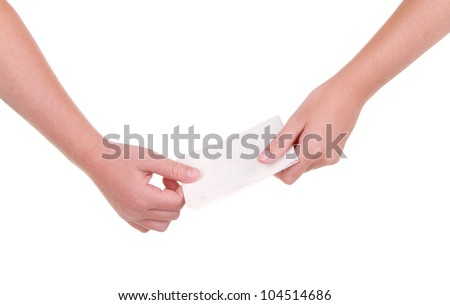 Close-up of childrens hands passing a blank note