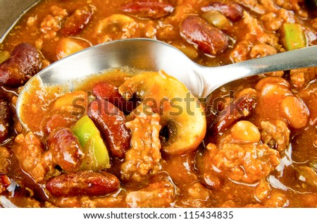 Close up of chili Con Carne with a spoon
