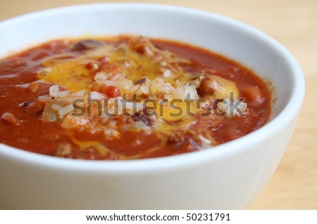 Close Up of Chili in a White Bowl