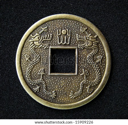 Close-up of chinese feng shui coin for good fortune and success.
