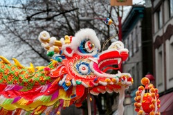 close up of Chinese lion dance at lunar new year