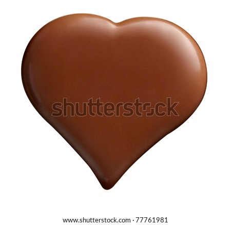 close up  of chocolate heart shape on white background