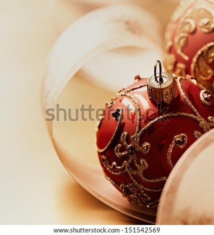 Close up of christmas balls and satin ribbon