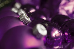 close-up of Christmas balls on the background of Christmas lights.