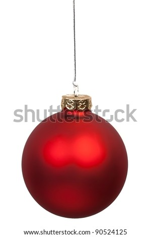 close up of christmas red ball hanging on white background