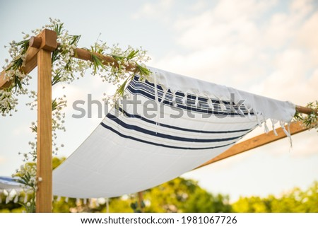 Close up of Chuppah canopy cloth details for traditional Jewish wedding custom Photo stock ©
