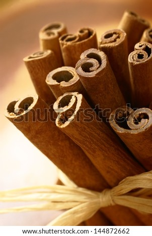 Close up of cinnamon sticks.