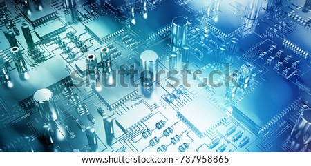 Close up of circuit board against glowing background