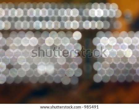 close-up of circuit board(electronic contacts as a twinkled objects off depth of field)