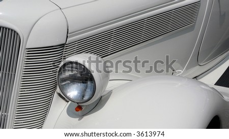 Close-up of classic car grillwork
