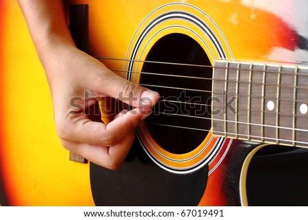 Close-up of classic guitar
