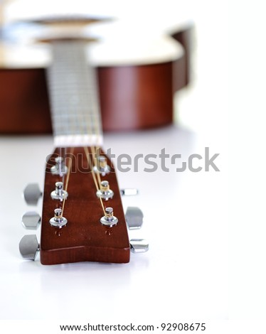 Close up of classic guitar with shallow depth of field