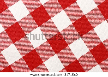 Close-up of classic red picnic cloth - The tablecloth is new, clean and flat