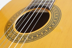 Close-up of classical guitar strings