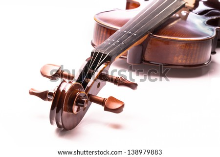 Close up of classical violin