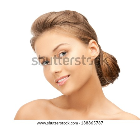 close up of clean face of young beautiful woman
