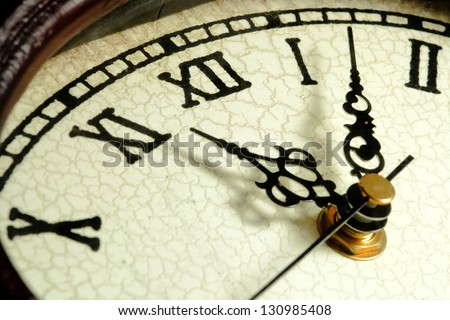 Close up of clock face and clock hands