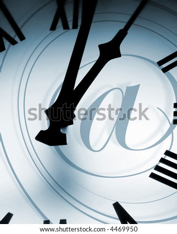 Close-up of clock face with blue tint.