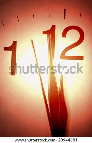Close Up of Clock Hands in Warm Tone