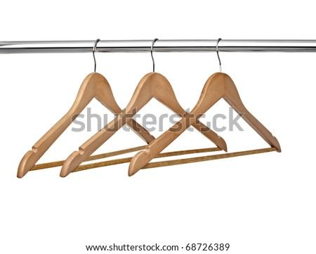 close up of  cloth hangers in row on white background