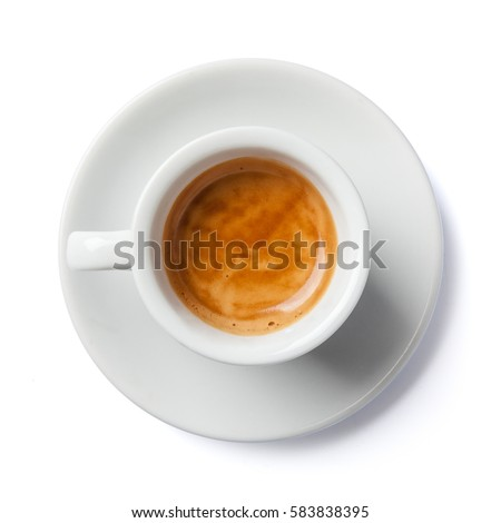 Close up of coffee cup and saucer. Top view, isolated on white.