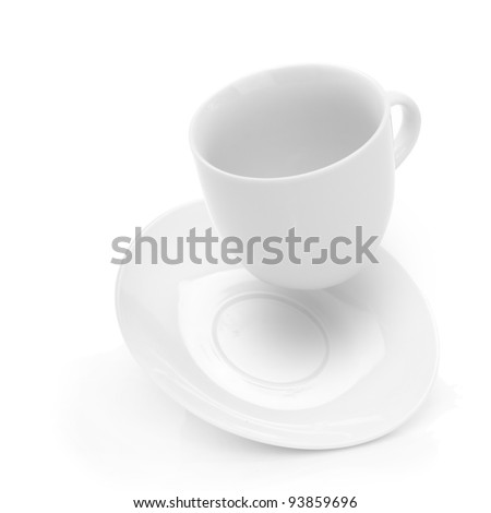 close up of coffee cup falling on white background
