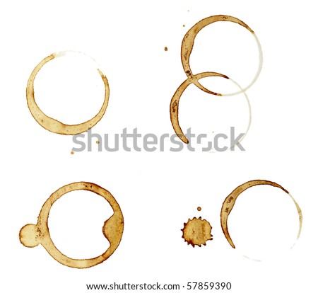 close up of coffee cup marks on white background