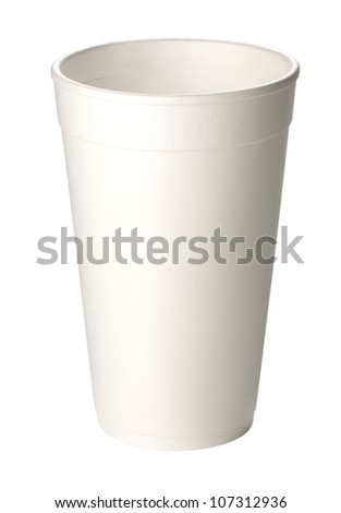 close up of coffee cup on white background with clipping path