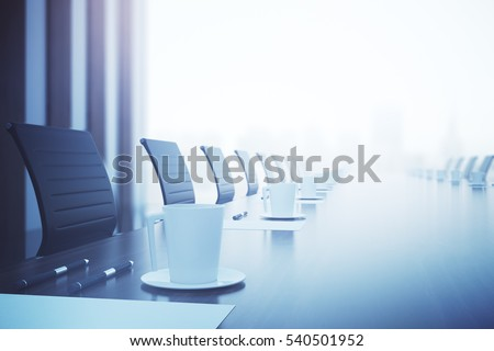 Close up of coffee cup, pens and paper sheet on wooden conference table. Filtered image. 3D Rendering