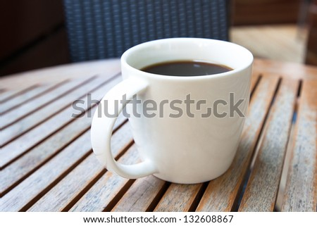 Close up of coffee in white cup