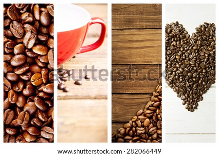 Close up of coffee seeds against coffee beans and mug