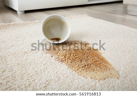Close-up Of Coffee Spilling From Cup On Carpet #561916813