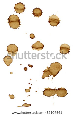 close up of coffee stains on white background