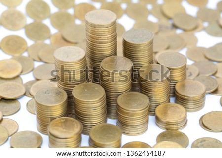 Close up of coins to stack of coins,  Business Growth concept, There is money coins to stack of coins. Financial risk. #1362454187