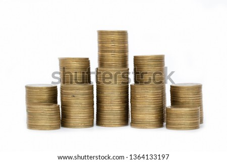 Close up of coins to stack of coins,  Business Growth concept, There is money coins to stack of coins. White background #1364133197