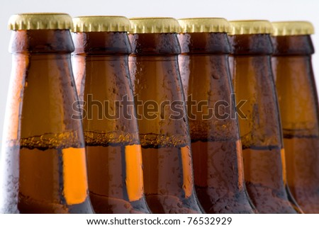Close up of cold beer in bottles