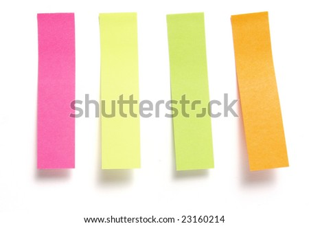 close up of collection notes placeholders for book on white background with clipping path