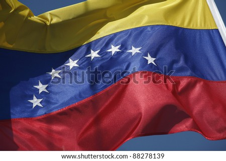 close up of colombian flag with stars