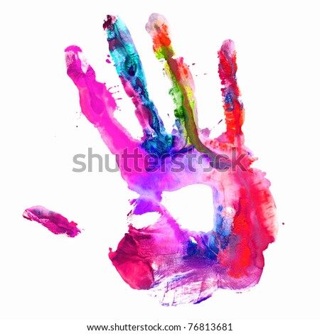 Close up of colored hand print on white background.