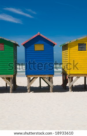 Close up of colorful beach huts near cape town