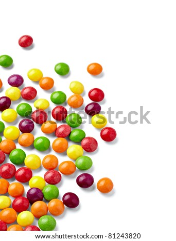close up of colorful candies on white background with clipping path