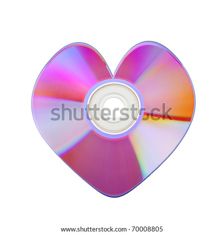 Close-up of colorful CD heart isolated on white background - stock photo