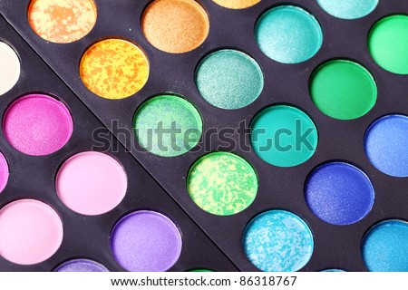 Close up of colorful eyeshadows